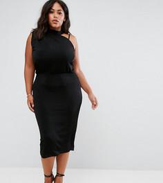 Асимметричное платье миди ASOS CURVE - Черный
