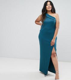 Платье макси на одно плечо с молнией ASOS CURVE - Зеленый