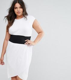 Платье-футболка миди с корсетной отделкой на талии ASOS CURVE - Белый