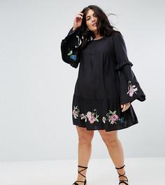 Платье мини с вышивкой ASOS CURVE ULTIMATE - Черный