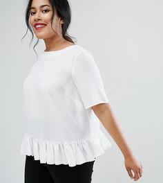 Тканая футболка с оборкой по краю ASOS CURVE - Белый