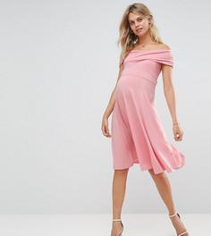 Короткое приталенное платье для беременных ASOS Maternity - Розовый