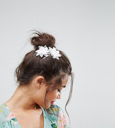 2 заколки для волос с цветами кроше ASOS - Белый