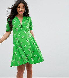 Чайное платье с короткими рукавами, цветочным принтом и молнией ASOS Maternity - Зеленый