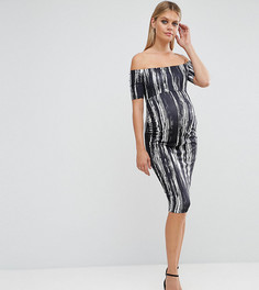 Платье с открытыми плечами и принтом ASOS Maternity - Черный