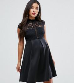 Короткое приталенное платье с высоким воротом ASOS Maternity - Черный