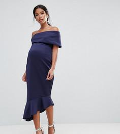 Платье миди на одно плечо с оборкой по нижнему краю ASOS Maternity - Темно-синий