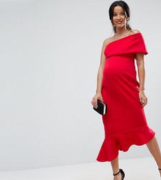 Платье миди на одно плечо с оборкой по нижнему краю ASOS Maternity PETITE - Красный