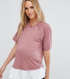 Футболка с кнопками на плечах и оборкой ASOS Maternity NURSING - Розовый
