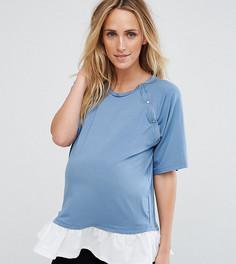 Футболка с кнопками на плечах и оборкой ASOS Maternity NURSING - Синий