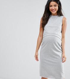 Двухслойное трикотажное платье для беременных и кормящих ASOS Maternity - Серый