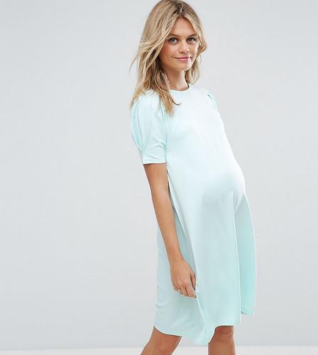 Свободное платье с пышными рукавами ASOS Maternity PETITE - Зеленый