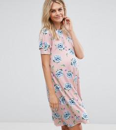 Свободное платье с пышными рукавами и цветочным принтом ASOS Maternity PETITE - Мульти