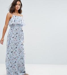 Платье макси с оборкой и цветочным принтом Yumi Petite - Синий