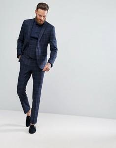 Синий приталенный пиджак в шотландскую клетку с добавлением шерсти ASOS - Синий