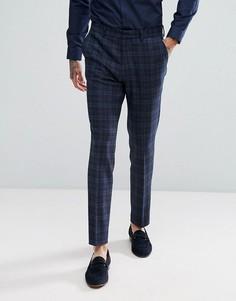 Синие брюки скинни в шотландскую клетку с добавлением шерсти ASOS - Синий