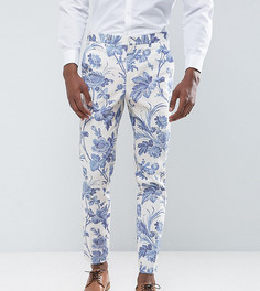 Белые хлопковые брюки скинни с синим цветочным принтом ASOS TALL Wedding - Синий