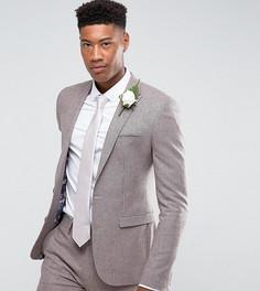 Приталенный пиджак в ломаную клетку с добавлением шерсти ASOS TALL Wedding - Розовый