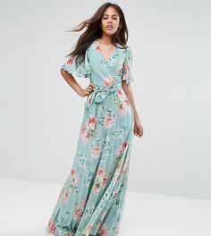 Платье макси с цветочным принтом и плиссировкой ASOS TALL - Мульти
