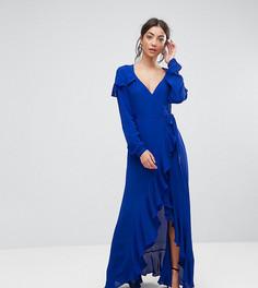 Чайное платье макси с запахом и длинными рукавами ASOS TALL - Синий