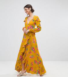 Чайное платье макси с длинными рукавами, запахом и цветочным принтом ASOS TALL - Мульти