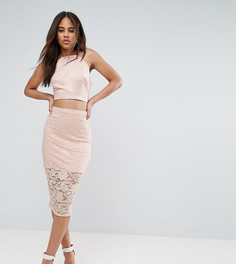 Кружевная юбка-карандаш ASOS TALL - Розовый