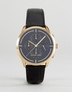 Часы с хронографом и черным кожаным ремешком Michael Kors MK2686 Slater - Черный