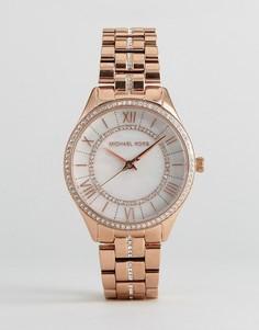 Золотисто-розовые часы с отделкой Michael Kors MK3716 Lauryn - Золотой