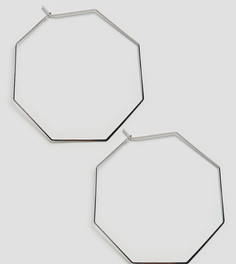 Серебристые восьмиугольные серьги-кольца Orelia - Серебряный