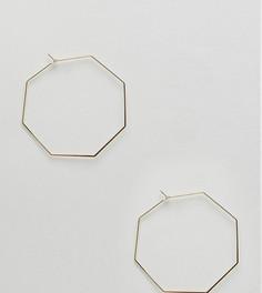 Золотистые большие серьги-кольца шестиугольной формы Orelia - Золотой