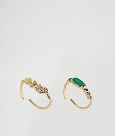 Набор колец с камнями и пером Orelia - Золотой