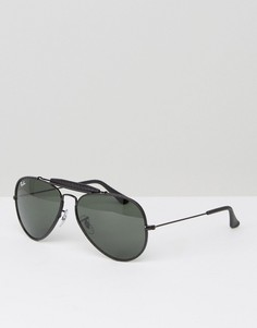 Солнцезащитные очки-авиаторы с кожаной накладкой на переносице Ray-Ban 0RB3422Q - Черный