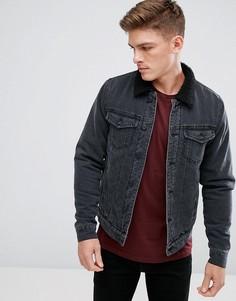 Джинсовая куртка с воротником из искусственного меха Only & Sons - Черный