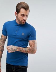 Синяя узкая футболка-поло BOSS Orange by Hugo Boss Pavlik - Синий