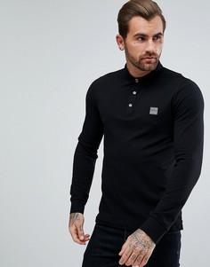 Черная узкая футболка-поло с длинными рукавами BOSS Orange by Hugo Boss - Черный