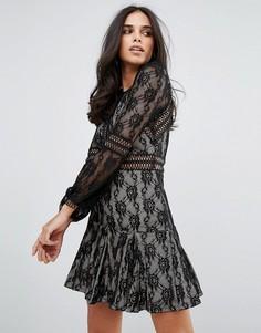 Кружевное свободное платье с длинными рукавами Forever Unique - Черный