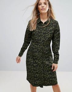 Платье миди на пуговицах с камуфляжным принтом Brave Soul Lexis - Зеленый