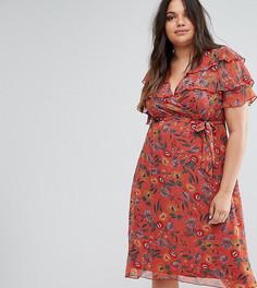 Чайное платье с цветочным принтом Boohoo Plus - Оранжевый