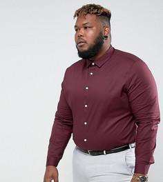 Бордовая приталенная рубашка ASOS PLUS - Красный