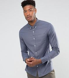 Синяя облегающая оксфордская рубашка из эластичной ткани ASOS TALL - Синий