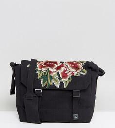 Черная сумка почтальона с накладкой с цветочным рисунком Reclaimed Vintage Inspired - Черный