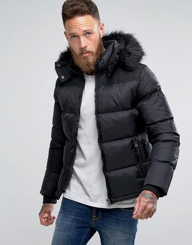 Зауженная дутая куртка черного цвета с отстегивающейся меховой отделкой на капюшоне Schott - Черный
