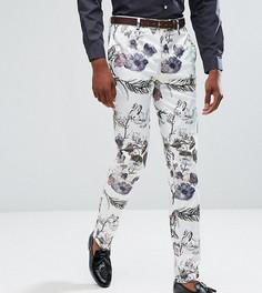 Облегающие строгие брюки с пастельным цветочным принтом ASOS TALL Wedding - Белый