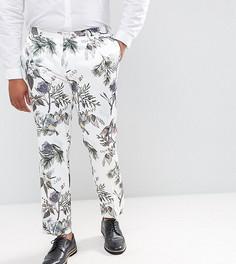 Зауженные строгие брюки с пастельным цветочным принтом ASOS PLUS Wedding - Белый