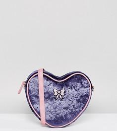 Бархатная сумка в форме сердца с ремешком через плечо и бантиком Lazy Oaf - Фиолетовый