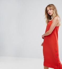 Платье-комбинация с кнопками сбоку Monki - Красный