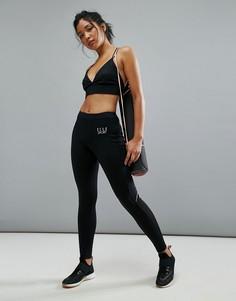 Леггинсы с сетчатыми вставками и карманом Elle Sport - Черный