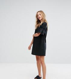 Свободное платье из поплина с оборками на рукавах Monki - Черный