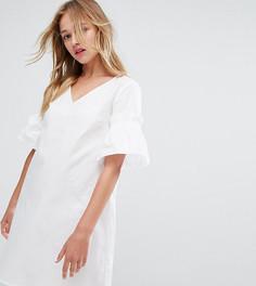 Свободное платье из поплина с оборками на рукавах Monki - Белый