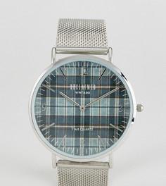 Часы с принтом в клетку и серебристым сетчатым ремешком Reclaimed Vintage Inspired эксклюзивно для ASOS - Серебряный
